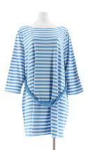 Liz Claiborne NY Striped Tunic Knotted Waist Belt Nautical Blue XL NEW A261243 - $26.71