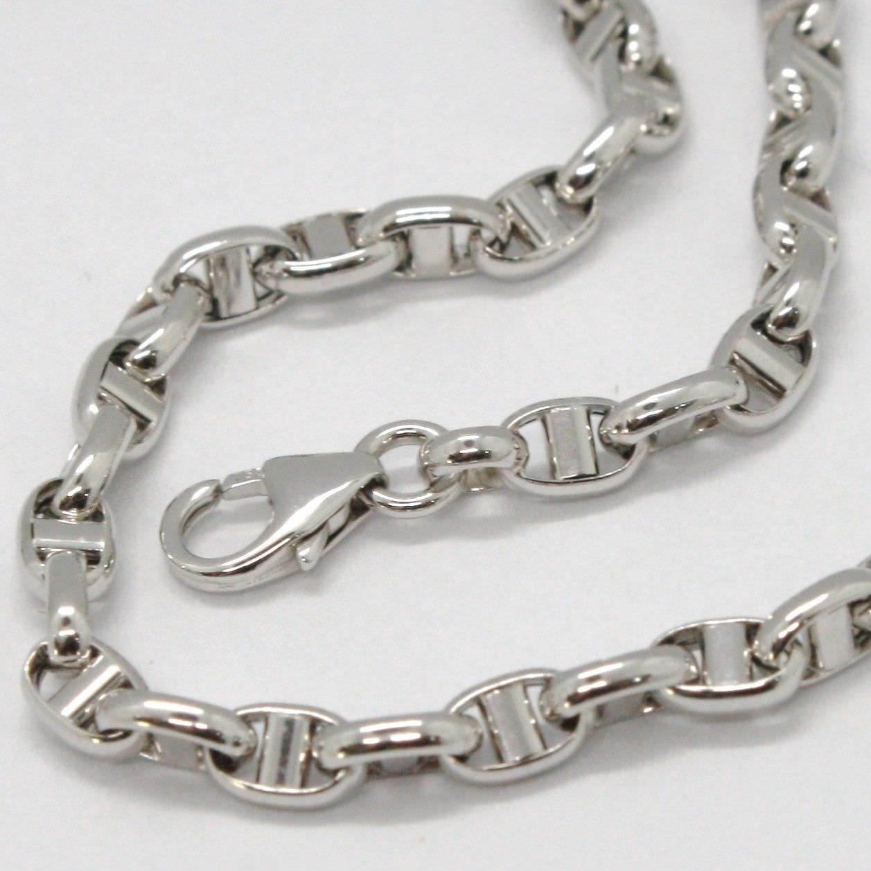 White Gold Bracelet 18k 750 Knitted Stud Made in Italy 19 cm long
