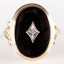 14k Yellow Gold Oval Onyx & Diamond Cocktail Ring .02ctw 4.6g Size 8.5 - $320.00