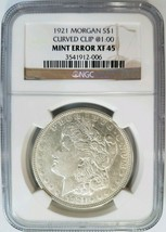 1921 Silver Morgan Dollar NGC XF 45 Planchet Rim Clip Mint Error Clipped... - $89.99