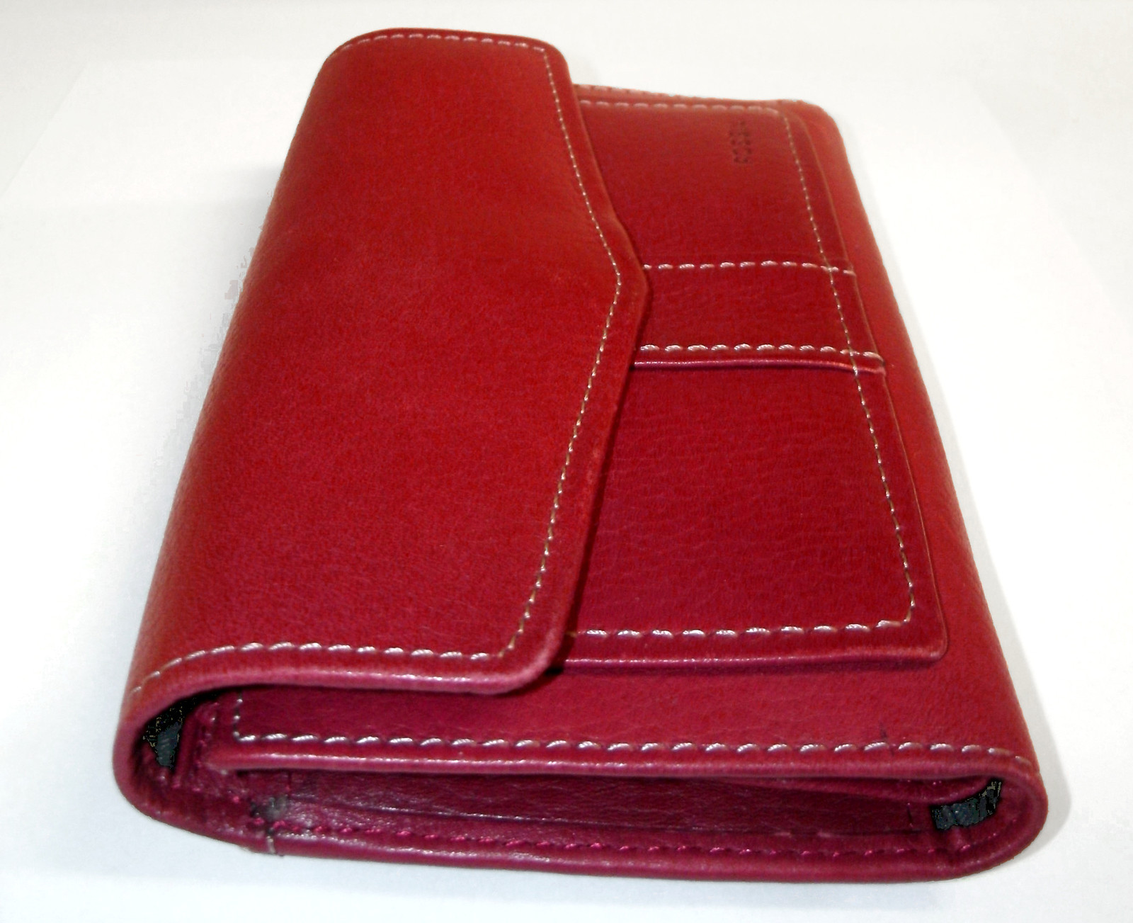 Fossil Red Leather Trifold Checkbook Wallet ID window Credit Card Organizer