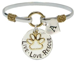 Custom Live Love Rescue Silver Gold Bracelet Jewelry Cat Dog Pet Initial Family - $14.87
