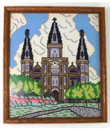 Vintage Latch Hook Needle Point Cathedral Church Framed Textile Wall Art... - $38.60