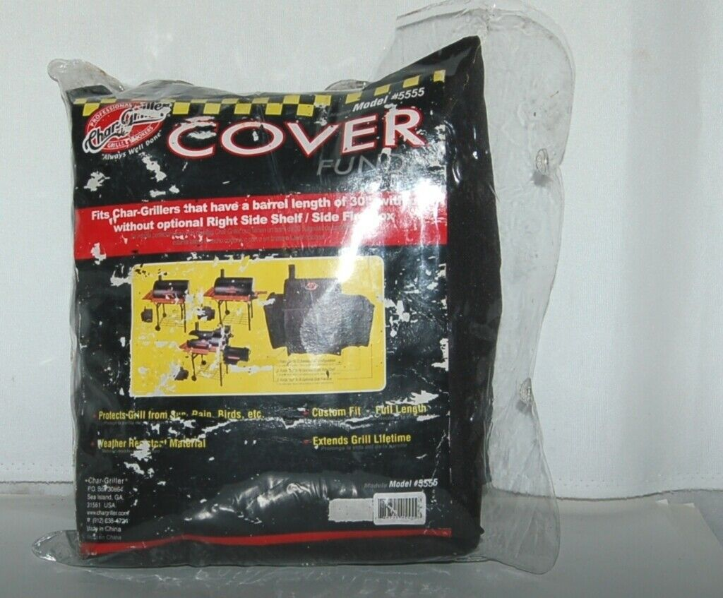 Char Griller 5555 Black Grill Cover Fits Grills With Fire Box Side Shelf
