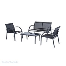 Luxury Garden Set 4pcs Contemporary Black Textilene Mesh Sofa Table 2 Ch... - $249.41