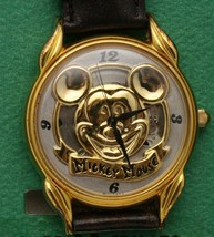 Mickey Mouse Watch Disney Classic Gold Tone 36 mm W/ Embossed Mickey Dial New - $120.67