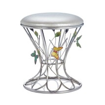 *18162B  Butterfly Wonder Silver Iron Sculpture Frame Padded Foot Stool - $84.65