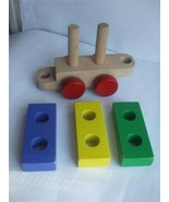 "Vintage 3 Wooden Toy Blocks on Wood Train Wagon Cart Red Yellow Blue 7"" ... - $12.86"