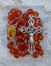 Silver Prayer Rosary Beads - Our Lady of Guadalupe / 8mm Orange Glass Ro... - $24.95