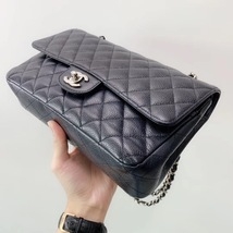 BRAND NEW AUTH Chanel Medium Black Caviar Classic Double Flap Bag SHW image 5