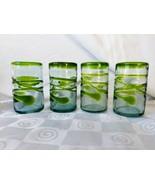 Hand Blown Glass Lime Green Rim Applied Swirl Mexican Glasses Tumbler Rare - $56.00