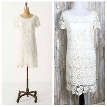 NWT Anthropologie 0 Ivory Floral Crochet Doily Lace Horkelia Shift Dress - €66,54 EUR