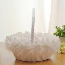 Wedding Flower Girl Basket Lace Candy Storage Romantic Double Bow Decor ... - $18.95