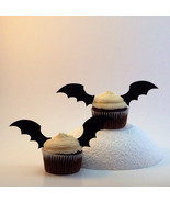 Bat Wing Cupcake Topper // Halloween Cake Picks // 24 Black Bat Wing Cup... - $10.00
