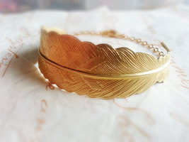 Large Gold Feather Cuff Bracelet Woodland Feather Bracelet Woodland Brac... - $27.00