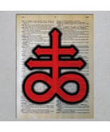 Leviathan Sigil of Sulfer Inverted Cross Satanic Dictionary Page Art Print - $11.00