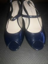 Franco Sarto Open Toe Leather spike Heels Womens Shoes Size 7.5 Navy Blue image 7