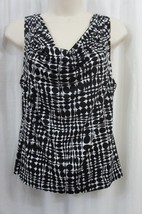 Calvin Klein Top Petite Sz PS White Black Geo Print Jersey Cowl Neck Blouse - $19.71