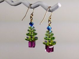Christmas Tree Holiday Earrings/ 1 OF A KIND /made w/Swarovski Crystals/14k Gold image 3
