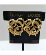Monet Laurel Wreath And Gold Tone Rings Clip Earrings Vintage - $15.83