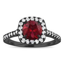 1.72 Carat Garnet Engagement Ring, With Diamonds Vintage Ring 14K Black ... - $1,445.00