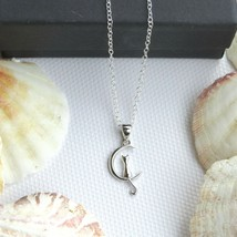 """NEW- Small silver Cat on the Moon & thin Italian Silver 16"""" Rolo chain N... - $16.50"""