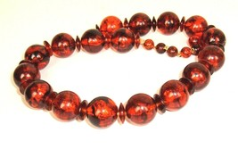 Vtg Faux Tortoise Root Beer Amber color Plastic Bead Mod Geometric Neckl... - $14.80