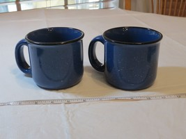 Marlboro Unlimited Blue Speckled Stoneware Coffee Mug Soup Cup Set of 2 *^ - $39.59