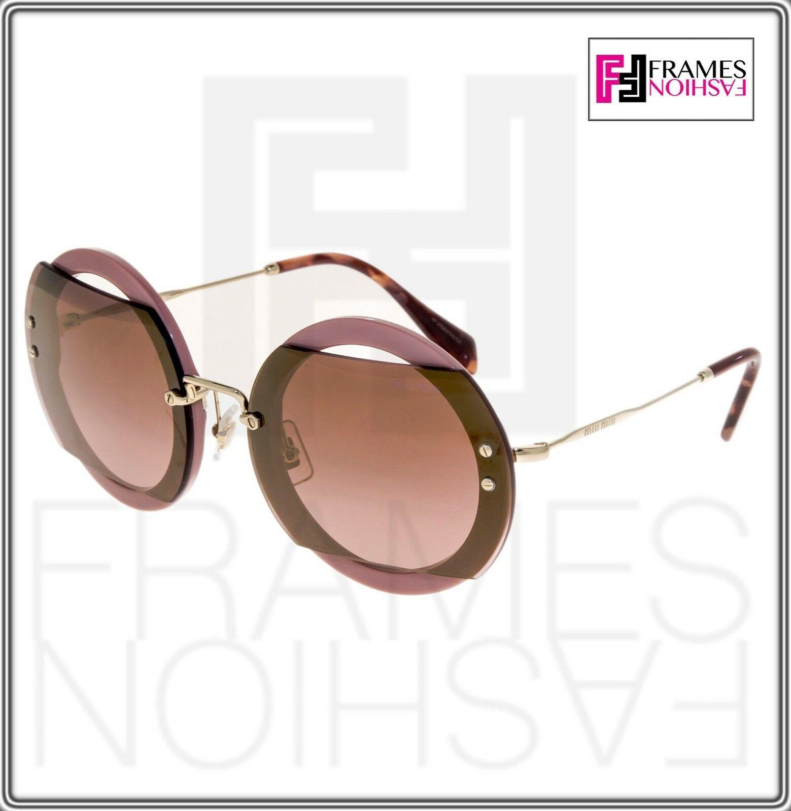 MIU MIU REVEAL 06S Gold Pink Burgundy Round Mirrored Sunglasses MU06SS Authentic