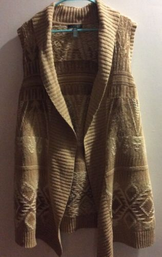 Ralph Lauren Authentic Plus Size 2X Southwest Long Open Tie Front Sweater Vest image 3
