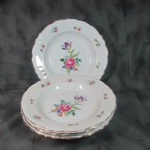 "4 Vintage Winterling Bavaria 9 1/2"" Soup Bowls Meissen Gardens (?), 48, ... - $21.49"