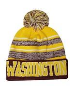 Washington Men's Blended Stripe Winter Knit Pom Beanie Hat (Maroon/Gold) - $13.75