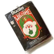 VTG Bucilla Santa Felt Kit Christmas Jeweled Door Chime Embroidery Bells Sequins - $24.70