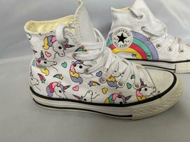 CONVERSE GIRLS CHUCK TAYLOR ALL STAR RAINBOW HI TOP SNEAKER -Size 12 WHI... - $29.70