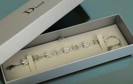 Authentic Christian Dior Signature Logos Silver Tone Rhinestone Bracelet w/ box - $197.01