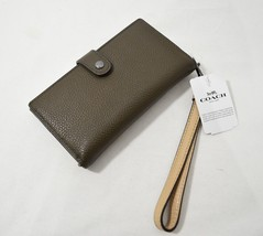 NWT Coach 23528 Color Block Phone Wallet/Wristlet in Dark Gunmetal/Fatig... - $89.00