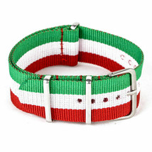 20mm X 255mm Nato Canvas Nylon wrist watch Band strap RED GREEN WHITE - $14.22