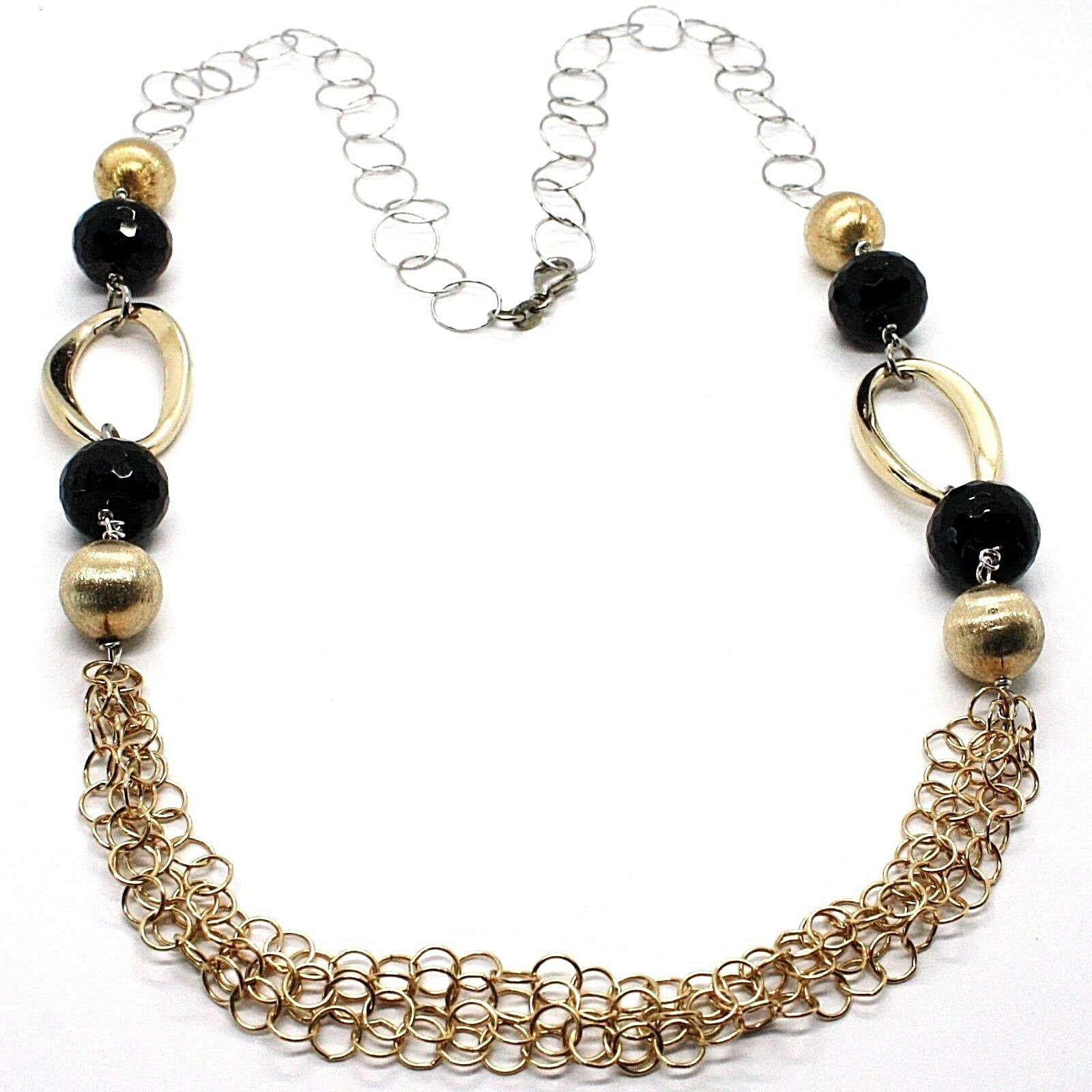 Necklace Silver 925, Onyx, Ovals Wavy, Spheres Satin, Chain Rolo '
