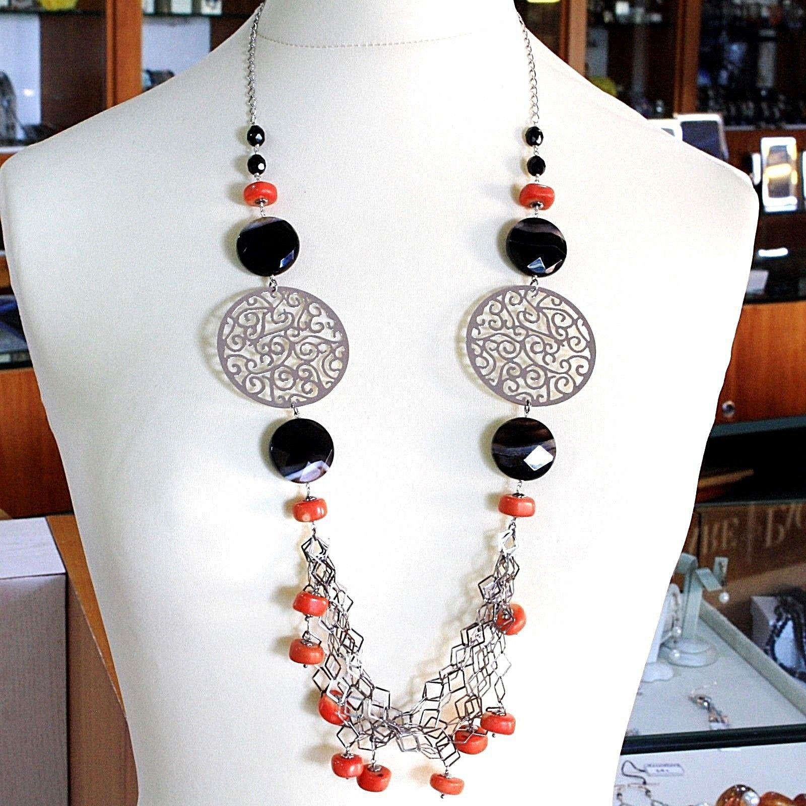 SILVER 925 NECKLACE, AGATE DISCO FACETED, CORAL, LOCKET, 31 1/2in