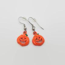 Cute Orange Halloween Jack-o-lantern Pumpkin Earrings - £2.98 GBP
