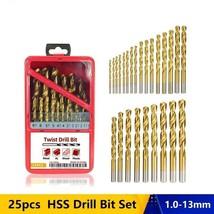 25pcs Twist Drill Bit HSS Gun Metal Woodworking Drilling Power Tool Acce... - $87.13