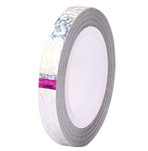 4 Rolls Wave Pattern Striping Tape Line Nail Art Decoration Sticker, Silver