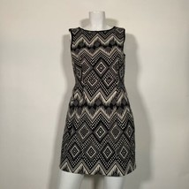J Crew Dress Sheath Geometric Black white Sleeveless Cotton Career Sz 6P... - $34.99