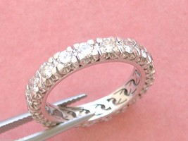 VINTAGE 1.52ctw BRILLIANT DIAMOND PLATINUM ETERNITY BAND RING 1950 size ... - €1.743,00 EUR