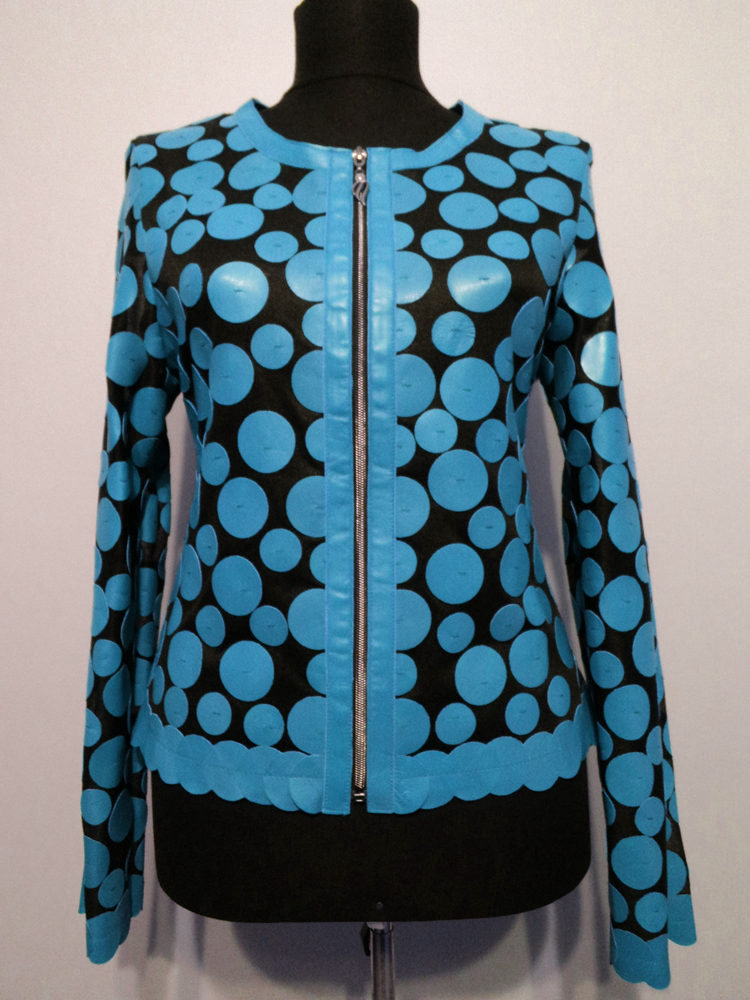 Round Neck Multi Color Genuine Leather Leaf Jacket Womens All Sizes Zip Short D7