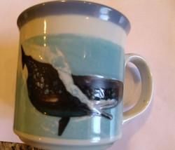 Vintage Whale Embossed Coffee Mug Raised Artwork Nautical Aquatic Tea Cup  - $19.79