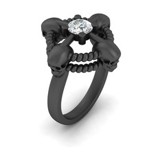 Lab Created Approx 0.60ct DEF Moissanite Nautical Rope Skull Wedding Ring Womens - $1,349.99