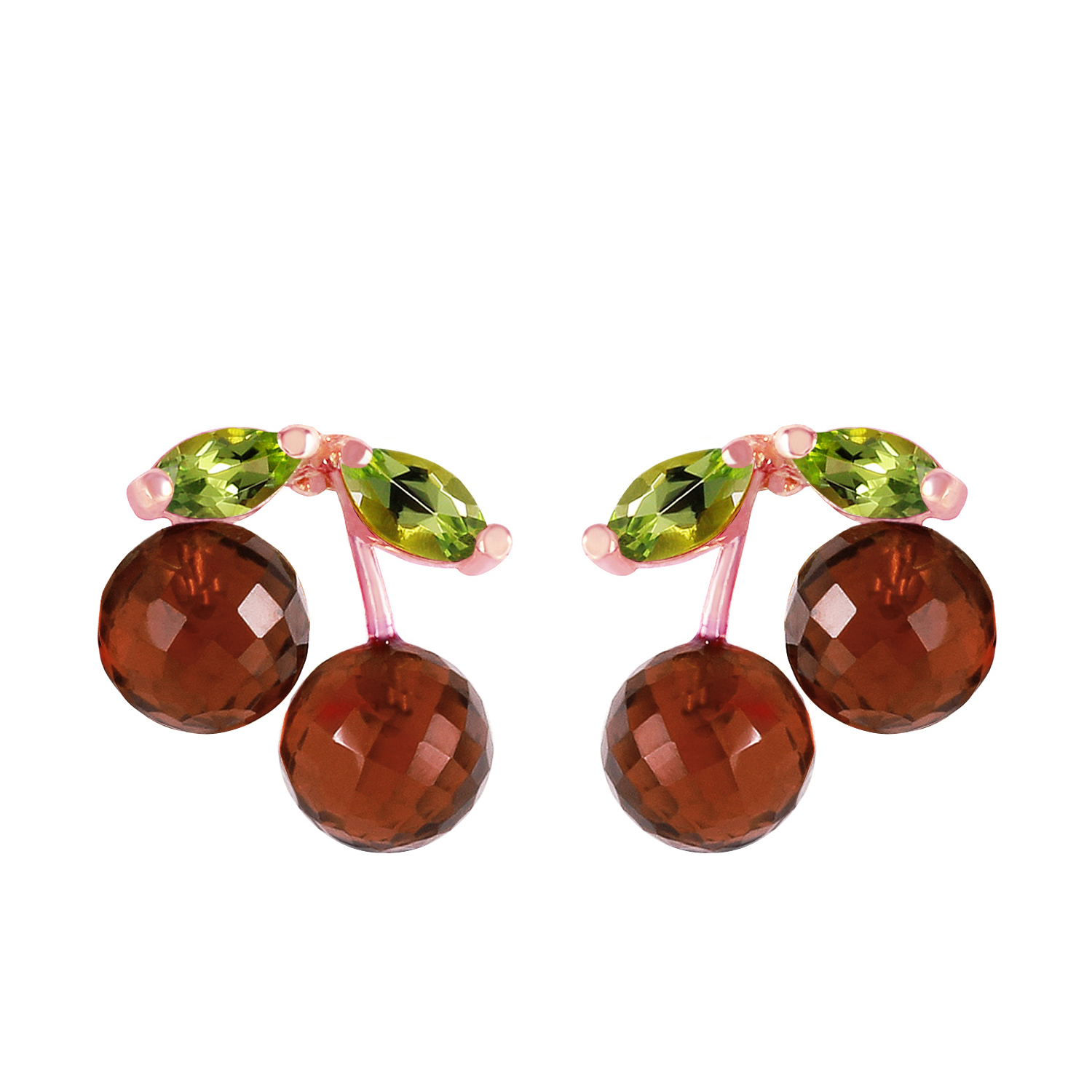 Primary image for 14K Solid Rose Gold Women's Beautiful Fashion Earrings with Garnets & Peridots