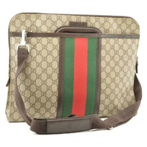 GUCCI Sherry Line GG PVC Leather 2way Hand Bag Red Green Auth 8813 - $580.00