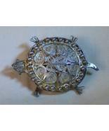 Antique 800 SILVER Fine Filagree TURTLE Pin Possible Ballou Providence R... - $65.00